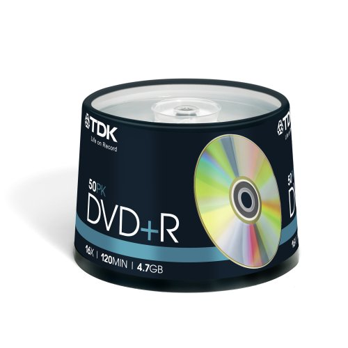 TDK T19444 DVD+R Rohling 4.7GB in Cakebox (50 Stück) 16x Speed
