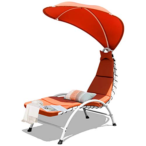 Giantex Chaise Lounger Chair, Arc Stand Porch Swing Hammock Chair w/Wide Canopy Sun Shade, Soft Cushion Removable Headrest for Garden Backyard Poolside (Orange)