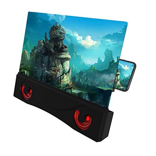 Osairous Lente d'Ingrandimento per Schermo del Telefono da 12 '' con Altoparlante Bluetooth, Amplificatore per Film 3D HD Ingrandimento Schermo per Cellulare con Supporto Pieghevole