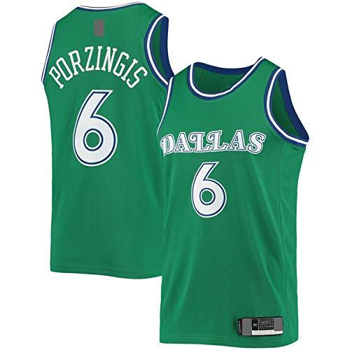 Kristaps - Camiseta de baloncesto con bordado de porzingis Dallas de manga corta Mavericks Mesh #6 Hardwood Classics Swingman Jersey Verde - Edición Clásica-M