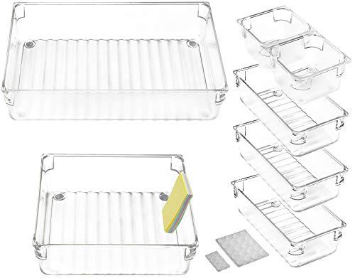 DARUITE 7 Stück Rutschfestes Schubladen Ordnungssystem, Verstellbar Acryl Organizer Schublade Multifunktions Aufbewahrungsbox für Make Up, Küchen, Schminktisch, Schreibtisch, Büro, Badezimmer