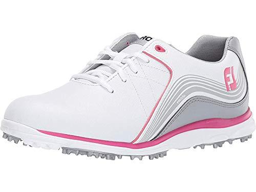 FootJoy Women's Pro/SL Golf Shoes, White/Grey/Fuchsia, 6 M US