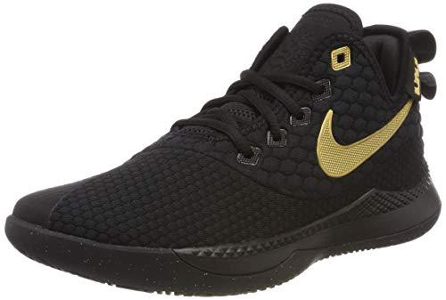 Tênis de basquete masculino Nike Lebron Witness III preto/dourado metálico tamanho 39