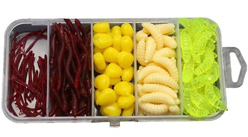 MiTho-Store Kunstköder Set Mais, Wurm, Maden, Kunstmaden, Karpfen, Angeln, Angelköder in Einer stabilen Box, Köderbox, Futterkorb