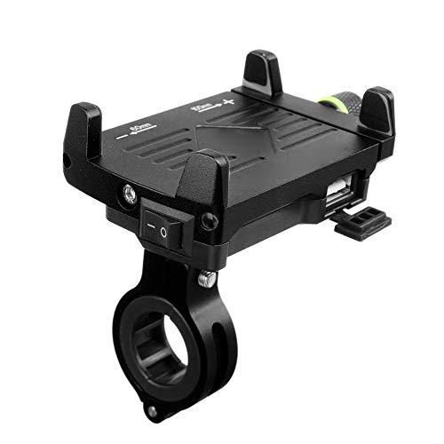 Neborn Soporte de teléfono para Motocicleta, con Clip para el Manillar, con Cargador USB, Soporte para teléfono móvil para Coche o Moto eléctrica