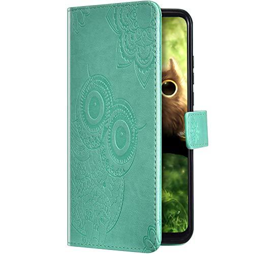 Uposao Compatible con Huawei P Smart 2020 Funda Libro con Tapa de Cuero,Retro Búho Patrón Elegante Billetera Cartera PU Premium Cubrir Carcasa con Tarjetero Función Soporte Flip Case,Verde