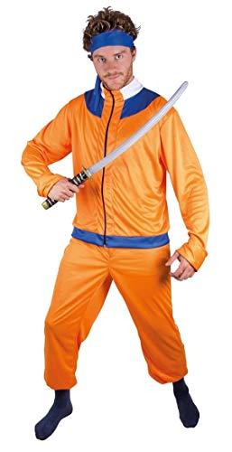 P'TIT Clown re22881 - Costume adulte manga orange et bleu (manches longues)