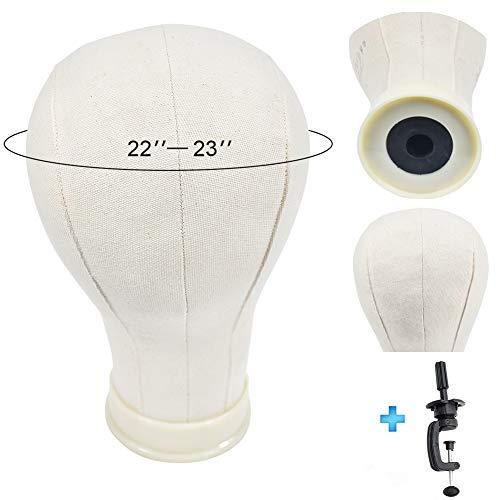 EiSiMan - Testa in sughero per parrucche da 55,9 a 58,4 cm, testina da colorare con morsetto incluso