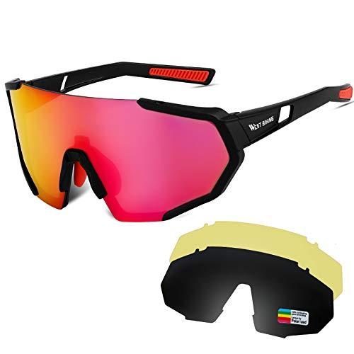 WESTLIGHT Polarisierte Sportbrille, 100% UV-Schutz mit 3 Wechselobjektiven, Brille für Männer und Frauen zum Radfahren, Skifahren, Fahren, Angeln,Laufen,Wandern
