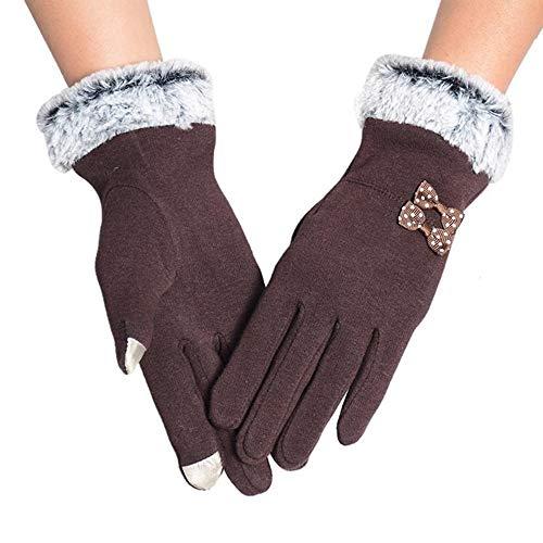 JFCUICAN Handschuhe Frauen-Screen-Handschuhe Frauen-Winter-Pelz-Handschuh-Vollfinger Handschuh-Handschuhe Handschuhe (Color : Kaffee, Size : 1)
