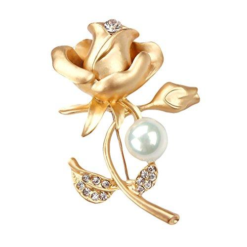 Cosanter Elegante Broches de Ropa Broche de Cruz Broches para Vestidos Rose Perla Broche de Diamantes (Dorado) 6 x 4 cm