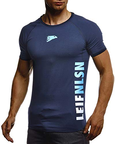 Leif Nelson Gym Herren Fitness T-Shirt Slim Fit Moderner Männer Bodybuilder Trainingsshirt Kurzarm Top Herren Sport T-Shirt - Bekleidung für Bodybuilding Training LN06279 D.Blau-Türkis Medium