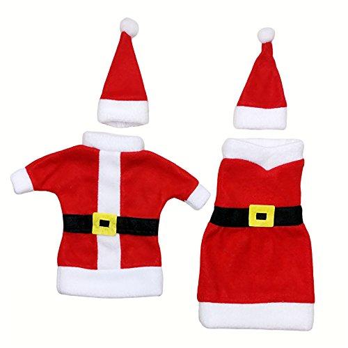 Hembra y macho estilo cluase de Papá Noel Navidad bolsas de regalo botella de vino bolsas de Navidad Cena de Fiesta Decoración de mesa 2pcs