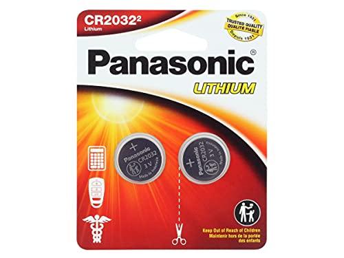 Panasonic CR2032 Pila botón de litio no-recargable, 3V, 225 mAh, Paquete de 2 unidades