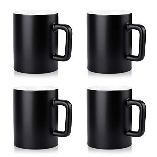 NEWANOVI Keramik Kaffeetasse Set Kaffeetasse aus Porzellan in matt, Becher mit Griff, für Heißgetränke, Kaffee, Tee Milch, Kakao, Keramik Becher, 500ml, Set of 4, Schwarz