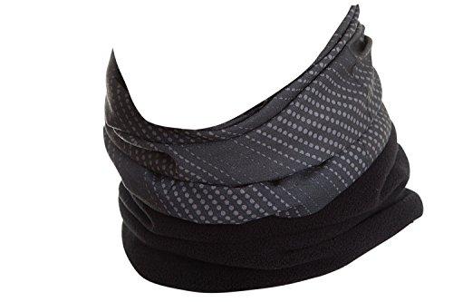 Hilltop Polar Halstuch, Multifunktionstuch, Kopftuch, Schlauchschal, Schal mit Fleece, Cooles Design in Trendfarben, für Damen und Herren, Farbe:Grau Schwarz