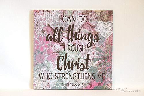 Ced454sy Ik kan alle dingen doen door Christus Decoratieve houten teken decoratief papier decoupage aangepaste teken Filippenzen 413 Bijbel vers teken