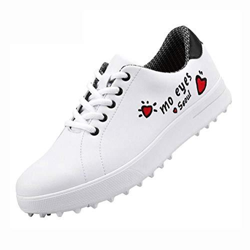 YXX Mujer Zapatos De Golf con Clavos, Control De Rendimiento, Estabilidad De Potencia, Mejora De La Estabilidad, Zapatos Atléticos,Blanco,37