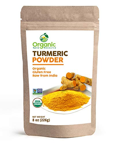 Organic Turmeric Root Powder | 8oz or 16 oz (1 lbs) | Lab Tested for Heavy Metal and Purity, Resealable Kraft Bag, Non-GMO, Curcumin Powder - 100% Raw from India, by SHOPOSR (8oz)