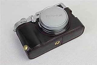 Fujifilm Fuji 富士 PEN X100F カメラ バッグ カメラ ケース 、Koowl手作りトップクラスのPUレザーカメラハーフケース、Fujifilm Fuji 富士 PEN X100F 一眼カメラケース、防水、防振、携帯型、透かし彫りベース+ハンドストラップ(カメラストラップ) (ブラック)