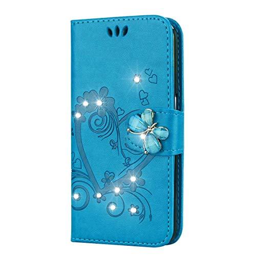 LG K7 / K8 Hülle, SONWO Premium Glitzer Strass Flip PU Leder Handyhülle mit Diamant Magnetverschluss und Ständer Funktion für LG K7 / K8, Blau