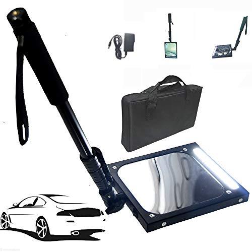 suneagle HäUsliche Pflege Unter Fahrzeuginspektionsspiegel - Mit-Licht, Unterbodeninspektionsspiegel - Verstellbarer Versenkbarer Griff, Visuelle FahrzeugausrüStung, Wiederaufladbar,Black