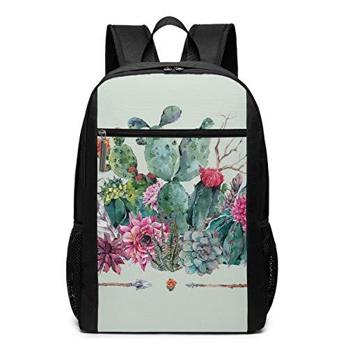 Qfunny Boho Style Bouquet von dornigen Pflanzen blüht Pfeile Federn Schultasche Reiserucksack 17 Zoll Laptop BagQfunny