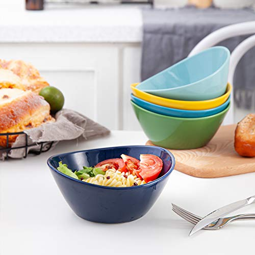 KitchenTour Porcelain Bowls Set - 10 Ounces Dishwasher and Microwave Safe Bowls for Ice Cream, Dessert, Dipping Sauces - Set of 6, Assorted Colors
