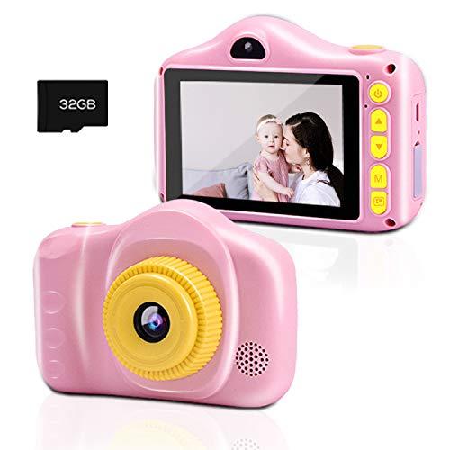 Kinderkamera, Chalpr Kamera für Kinder, Digitale Kinderkameras mit 3,5-Zoll-Bildschirm 12MP 1080P HD-Kamera, Wiederaufladbare Spielzeugkamera für Kinder 3-12 Jahre Jungen Mädchen (Rosa)