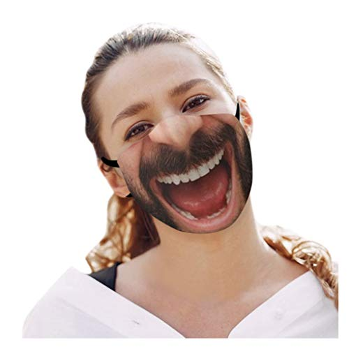 cinnamou 1 Stücke Erwachsene Lustige Mundschutz mit 3D Motiv Outdoor Mund-Nasen-Schutz Staub Lustige Motive Waschbar Wiederverwendbare Halstuch Bandana Mund und Nasenschutz