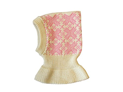 Pasamontañas 100% lana merino tejida invierno otoño sombrero bufanda bebé niños Blanco Blanco-Rosa natural. Small