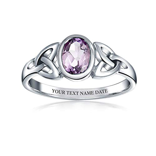 Personalized Amethyst Celtic Trinity Knot Triquetra Ring For Women Sterling Silver February Birthstone Custom Engraved
