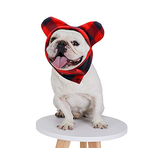 BZB Cute Dog's Fleece Bat Hat Soft Warm Adjustable French Bulldogs Winter Hats Pet Supplies (Medium,Black&Red)