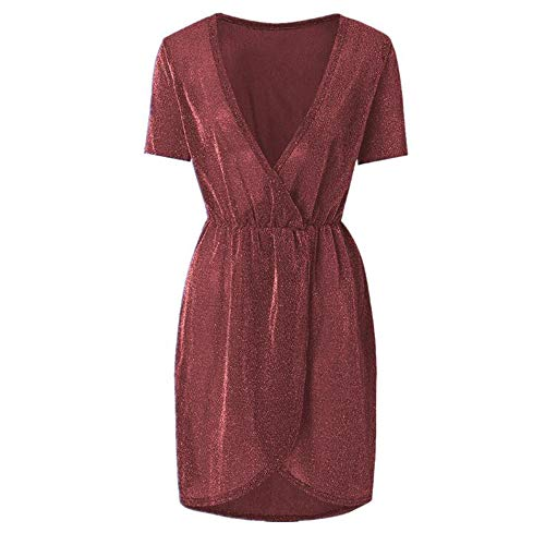 Vrouwen onregelmatige pailletten jurk V-hals avondjurk Kort feest Clubwear Nachtclub Clubwear Jurk