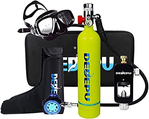 VTAMIN Equipo de tanque de buceo, mini tanque de 1L S5000 S5000 Juego de tanques de oxígeno, válvula de respiración de silicona con capacidad de 15 a 20 minutos de buceo oxígeno oxígeno dispositivo de