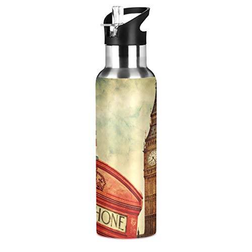 BGIFT Botella de agua con tapa de pajita aislada al vacío, de acero inoxidable, con la bandera del Reino Unido, botella de agua de 20 onzas para deporte, bicicleta, fitness, senderismo