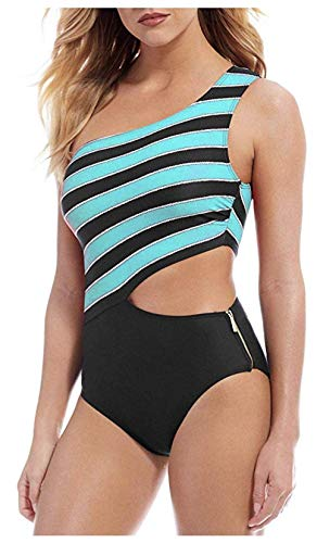 MICHAEL Michael Kors Rope Rugby Stripe One Shoulder Cut Out One-Piece Swimsuit w/Zipper & Removable Soft Cups Turquoise 10
