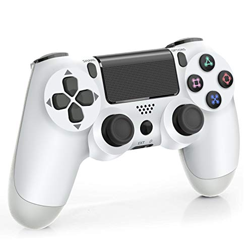 Wireless Controller for Playstation 4, 1000mAh Gamepad Joystick Remote Pro Controller for PS4/PRO/SLIM with Motion Motors and Audio Function Non-OEM, White