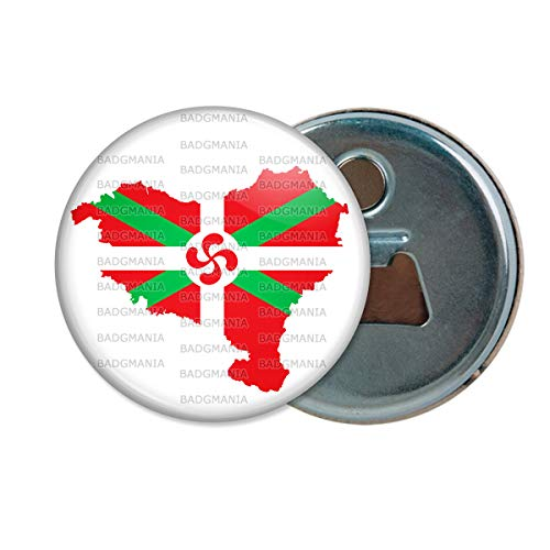 Décapsuleur Aimanté Magnet Carte Pays Basque Euskadi Euskara Croix Symbole 64 Biarritz Ouvre Bouteille Refrigerateur