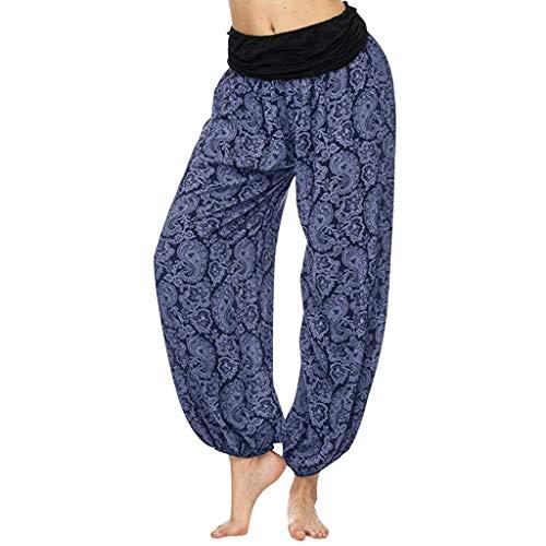 Shinehua Baggy yogabroek voor dames, brede broek, Boheemse bedrukte harembroek, vintage, hoge taille, fitnessbroek, comfortabel afgewerkt kwaliteitsbroek, elastische tailleband