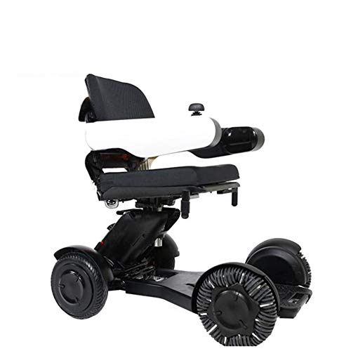 Electric Wheelchair Compact Intelligent Folding Carry Convenience Bluetooth Link Remote Control 360° Rotation Dual Motor Motorized Wheelchair (Manual/Electric Dual Mode Switch) Suitable for Disabled