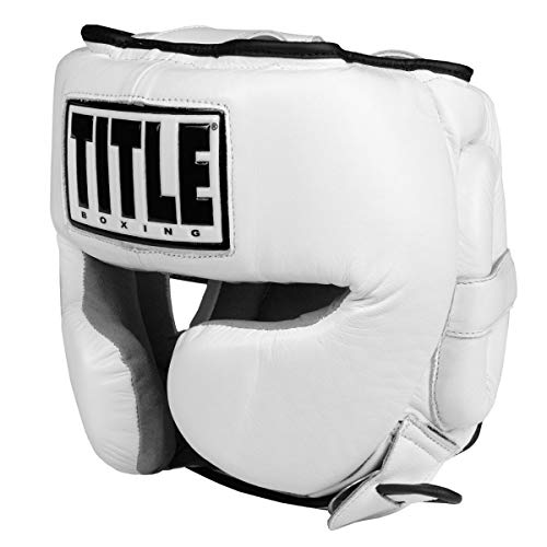 Title Boxing Leather Sparring Headgear, White, Regular