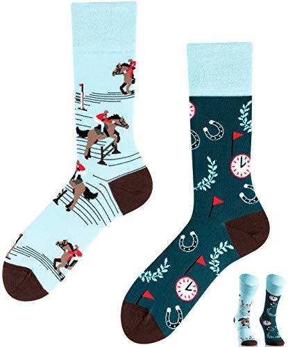 TODO COLOURS Casual Mix & Match Socken - Lucky Horse - mehrfarbige, verrückte, bunte Reiter-Socken (39-42, Lucky Horse)