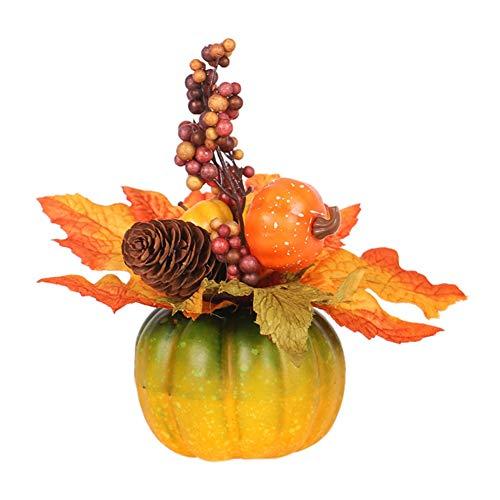 XIYAO Künstlicher Kürbis mit Ahornblättern und Beeren Herbstkürbisdekoration für Tischdekoration Halloween Party und Thanksgiving