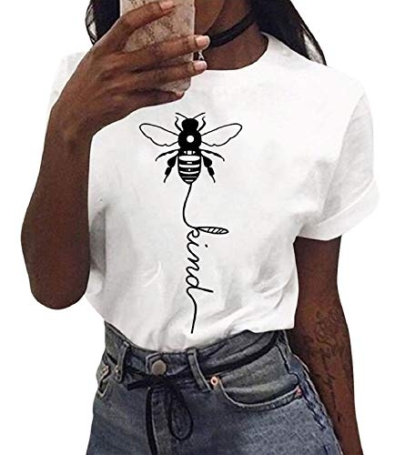 UMIPUBO - Maglietta da donna Bee bambino con motivo a ape, scollo rotondo, a maniche corte, casual, stampa lettere, estiva, taglie S-XL Vintage Moda bianco L