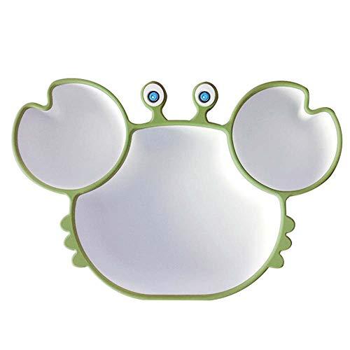 APIKA Platos de Silicona para Bebé, Linda Vajilla para Niños Pequeños con Ventosas, Apto para Lavavajillas(Verde)