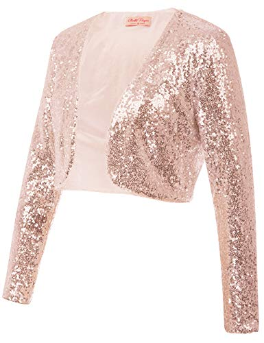 Belle Poque Beautiful Lady Shinny Bolero Shrug for Wedding Open Front Cardigan Coat (Rose Gold,L)