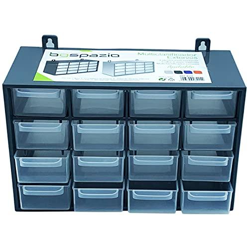 Acan Organizador apilable de plástico con 16 cajones, Clasificador 16 Compartimiento apilable, Cajonera Multiusos de Material plástico Color Gris