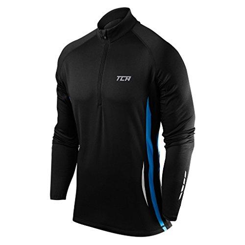 TCA Winter Run Herren Thermo Trainingsjacke mit Viertel-Reißverschluss - Schwarz/Blau, M