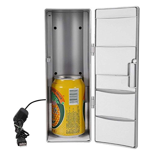 GOTOTOP USB mini-koelkast, compacte mini USB multifunctionele 2-in-1 koelkast vrieskast koeler verwarmer voor blikjes bier voor gebruik op reis met de auto of op kantoor, 8,5 x 12 x 25 cm